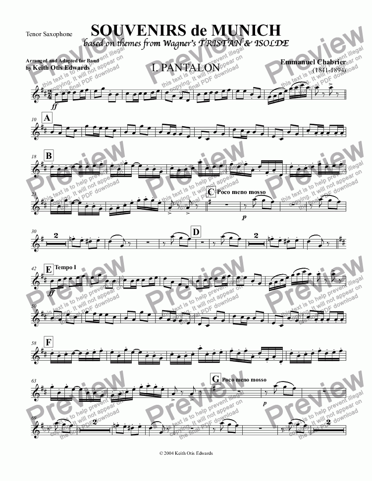 page one of the Tenor Saxophone part from Souvenirs de Munich: A Quadrille based on Favorite Themes from Tristan & Isolde by Richard Wagner