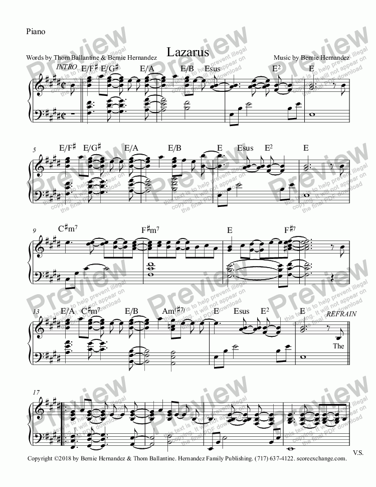 page one of the Piano part from Lazarus