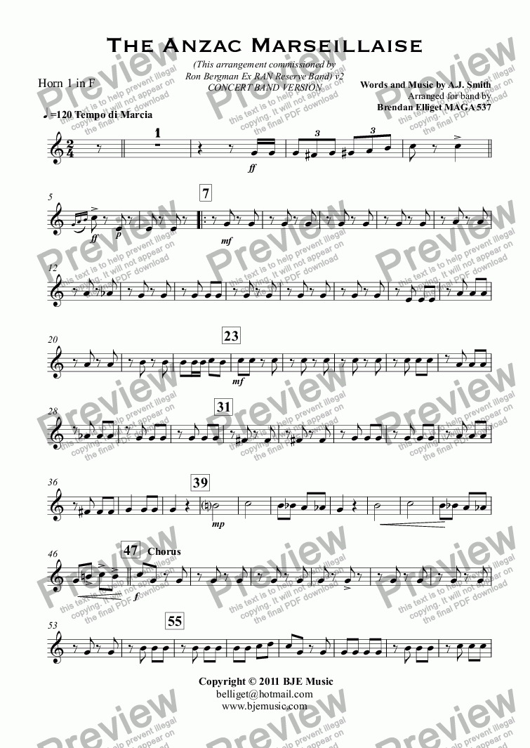 page one of the Horn 1 in F part from The Anzac Marseillaise - Concert Band