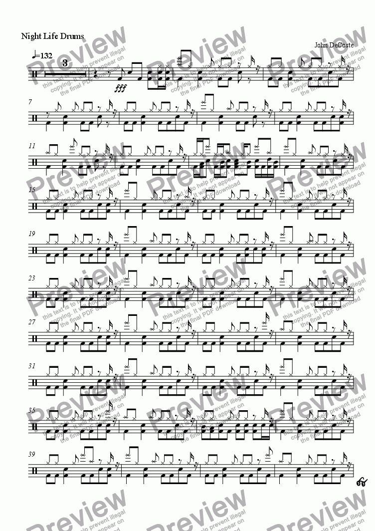 page one of the Drums part from Night Life - Big Band