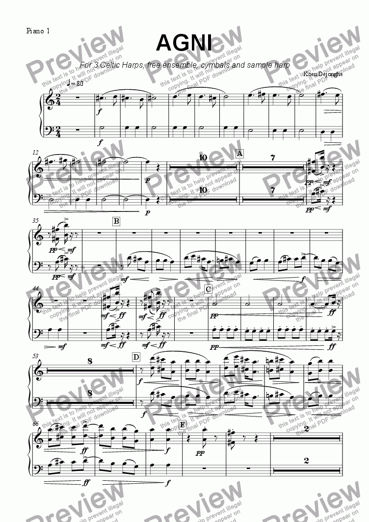 "page one of the Pianopart I+III part from ""Agni"" for 3 Celtic Harps, free Ensemble and Sample Harp"