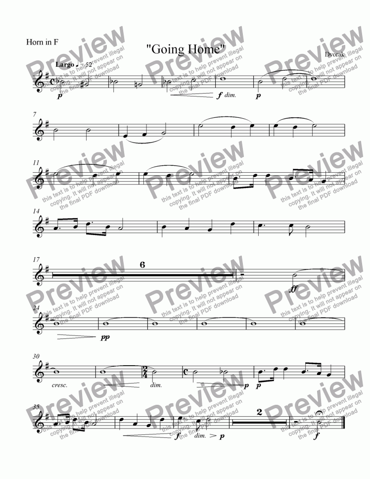 page one of the Horn in F part from Going Home