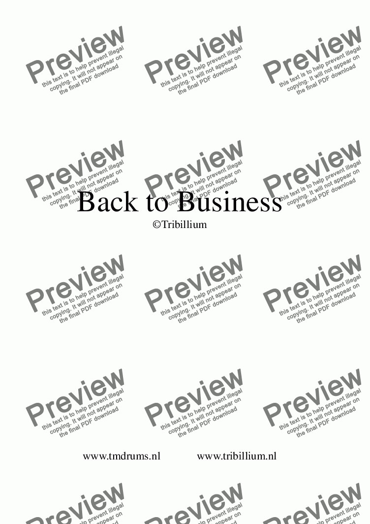 page one of the Back to Business part from Back to Business Score+parts