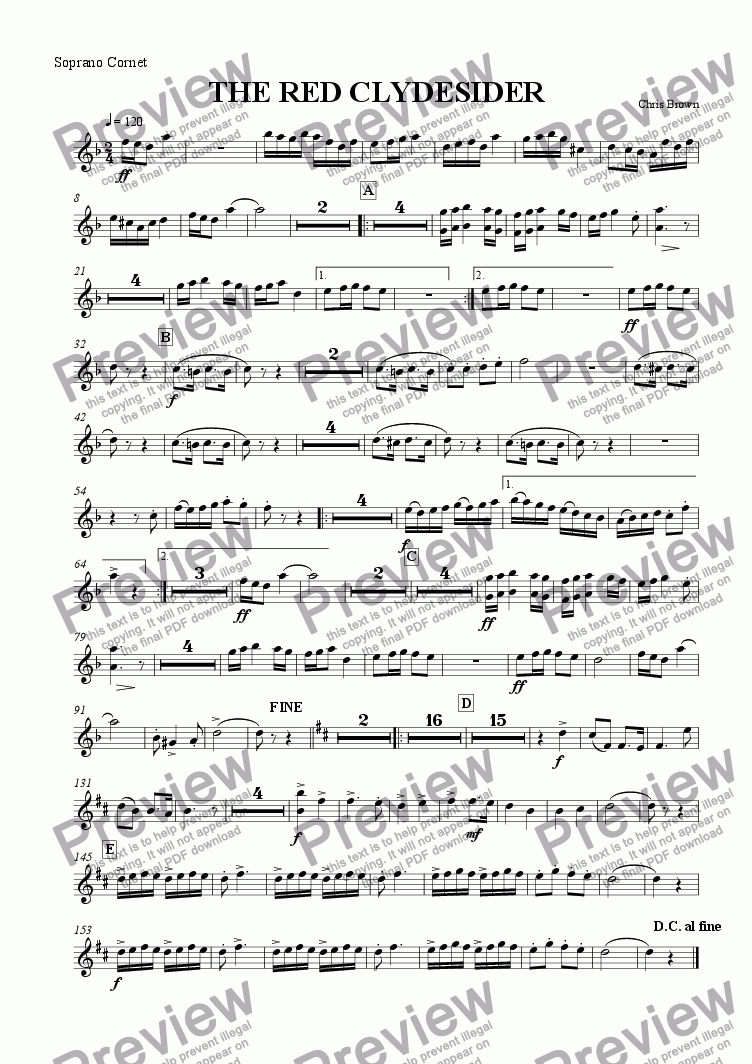 page one of the Soprano Cornet part from The Red Clydesider