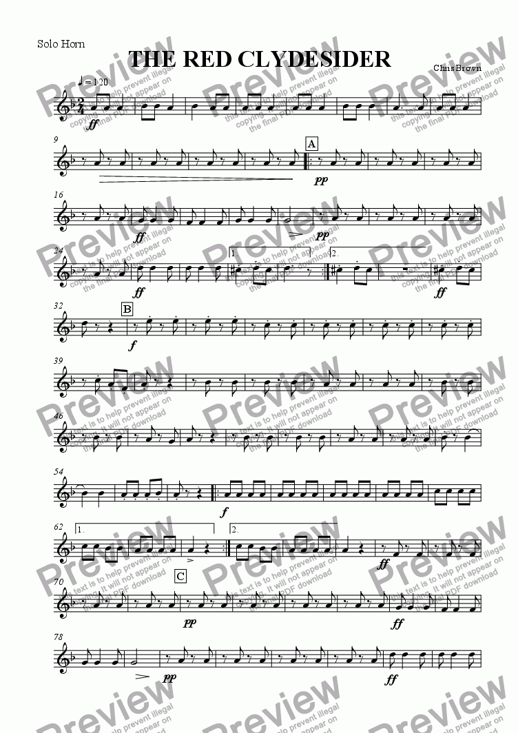 page one of the Solo Horn part from The Red Clydesider