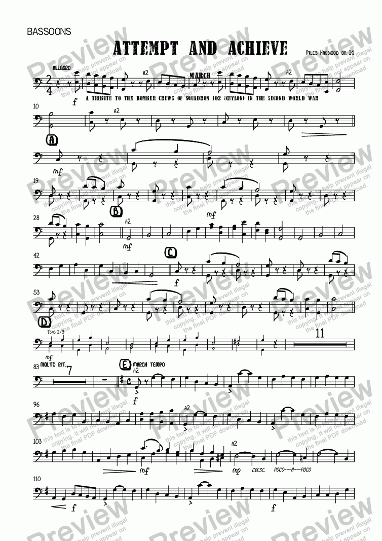 page one of the Bassoons part from Attempt and Achieve (March)  Op.14