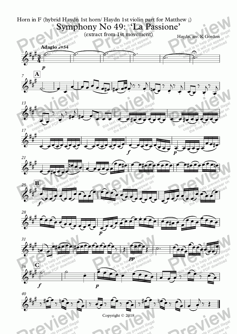 page one of the Horn in F (hybrid Haydn 1st horn/ Haydn 1st violin part for Matthew ;) part from Haydn Symphony No 49:  'La Passione'