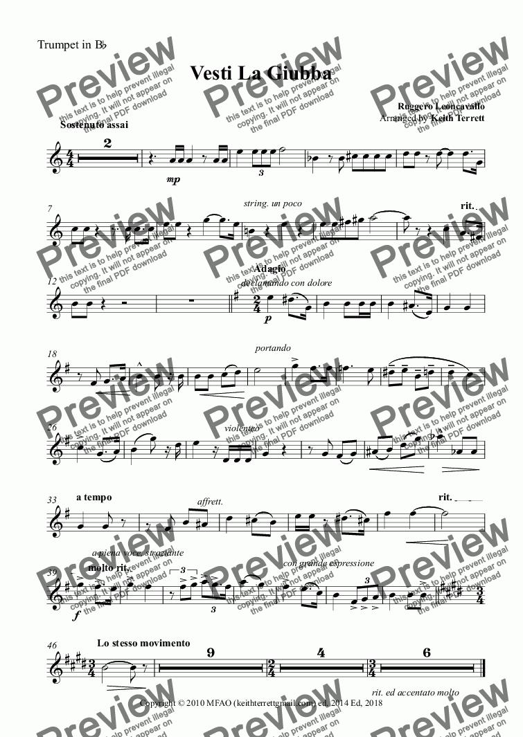 page one of the Trumpet in B^b part from Vesti La Giubba for Bb Trumpet & Piano (Semi Pro version)
