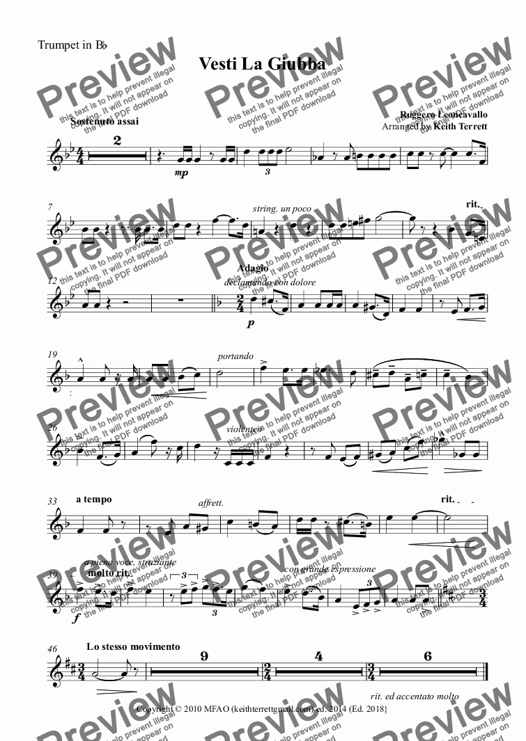 page one of the Trumpet in B^b part from Vesti La Giubba for Bb Trumpet & Piano (Low version)