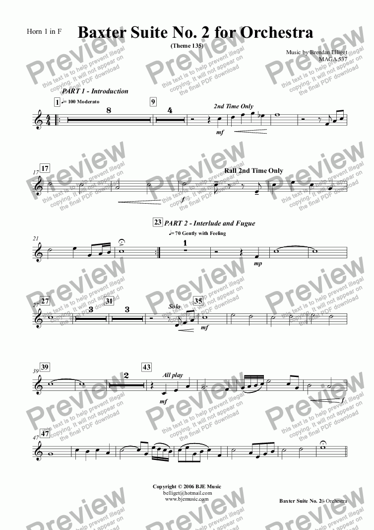 page one of the Horn 1 in F part from Baxter Suite No. 2 - Orchestra