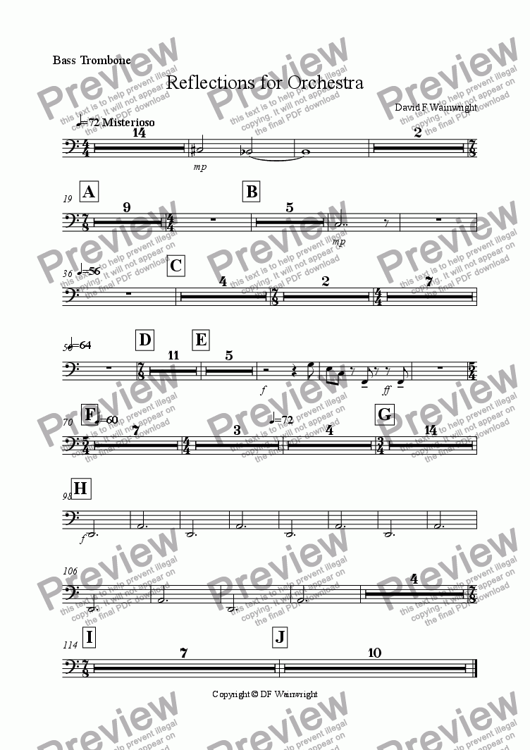 page one of the Bass Trombone part from Reflections for Orchestra