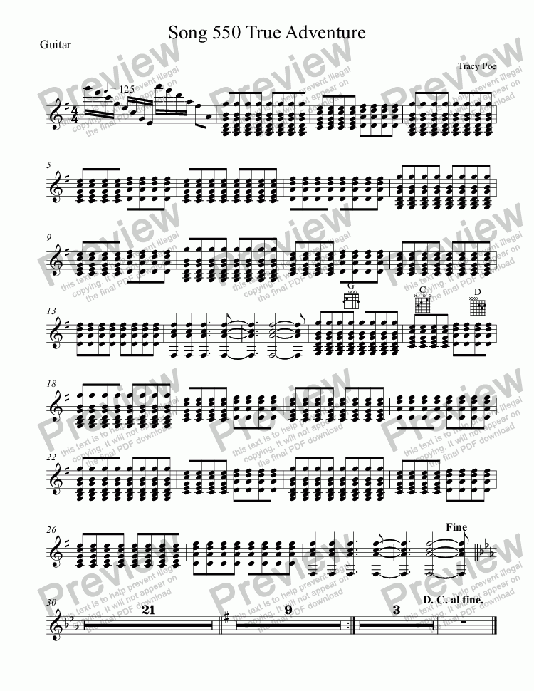 page one of the Guitar part from Song 550 True Adventure