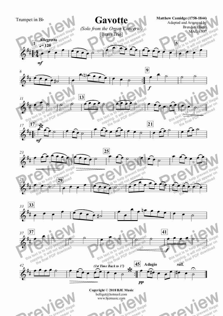 page one of the Trumpet in B^b part from Gavotte (Solo from the Organ Concerto) - Brass Trio