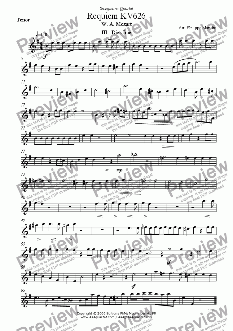 page one of the Tenor Sax part from Mozart - Requiem Dies Irae (Sax Quartet)