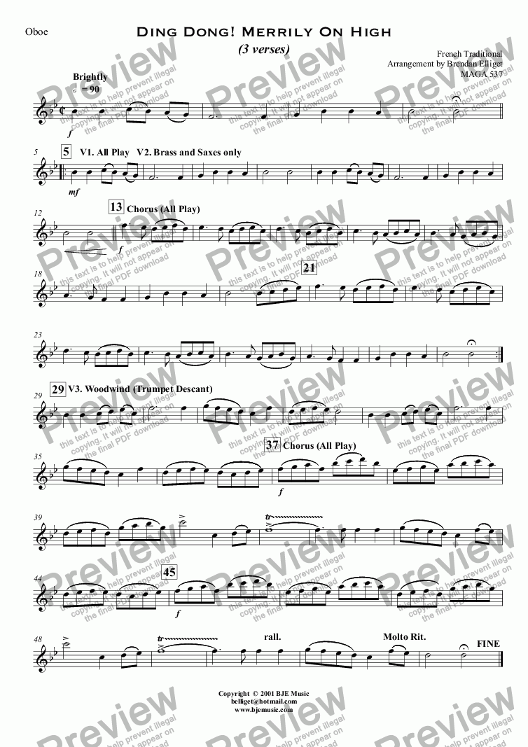 page one of the Oboe part from Ding Dong ! Merrily On High (Christmas) - Concert Band