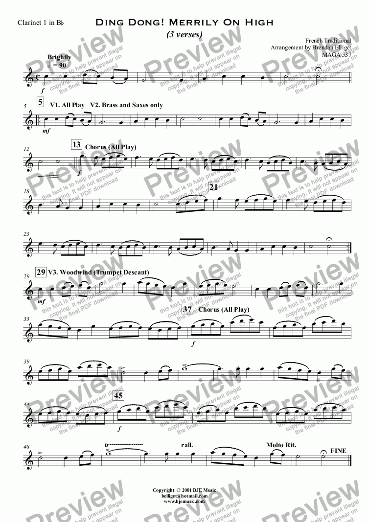 page one of the Clarinet 1 in B^b part from Ding Dong ! Merrily On High (Christmas) - Concert Band