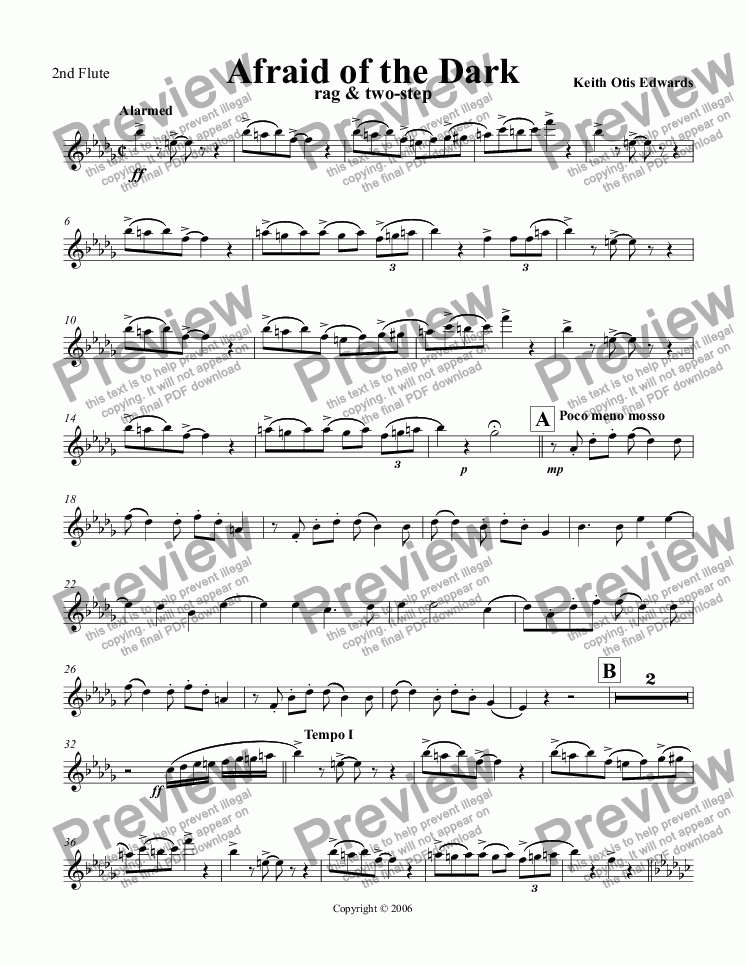 page one of the Flute part from Afraid of the Dark