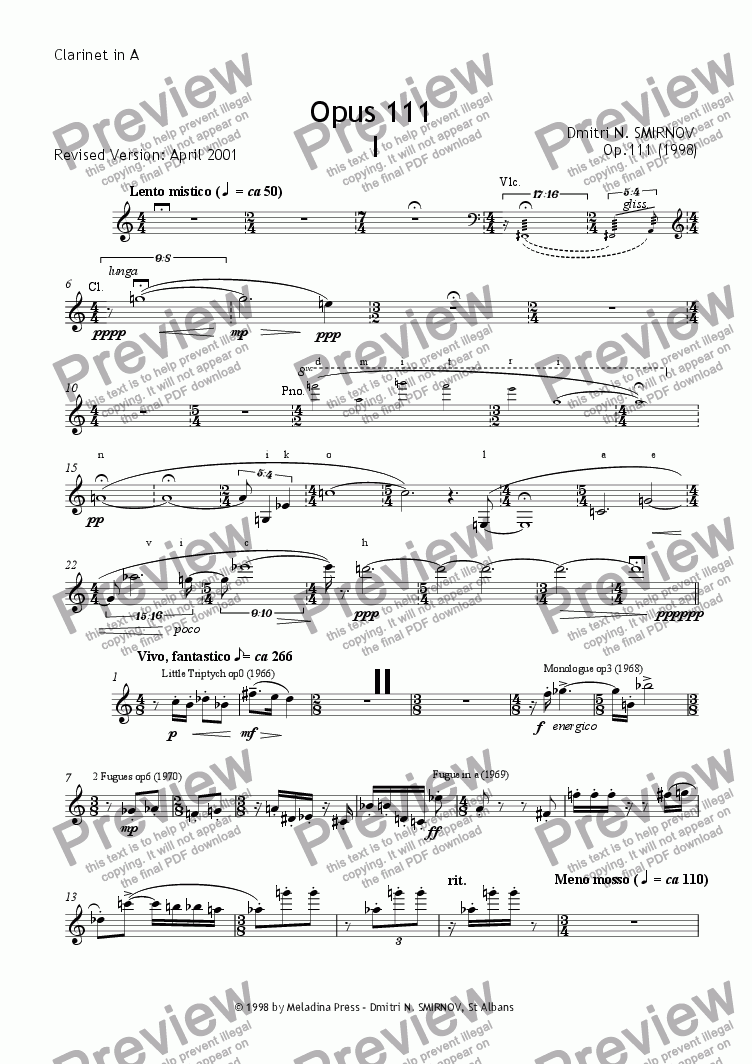 page one of the Clarinet in A part from OPUS 111 for clarinet, cello and piano