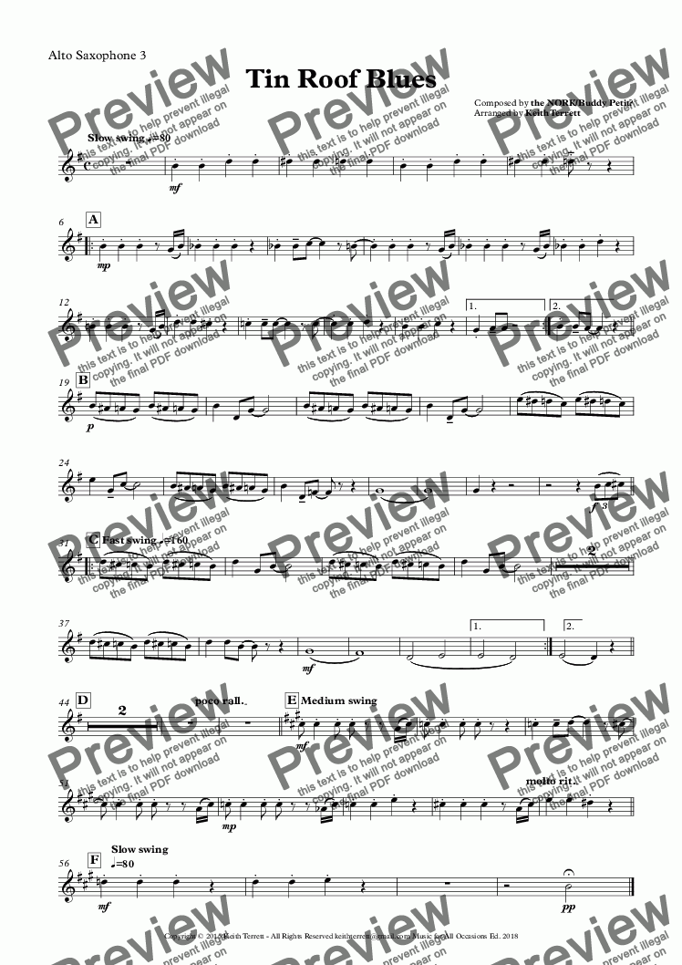 page one of the Alto Saxophone 3 part from Tin Roof Blues  (Rusty Nail Blues) for Saxophone Quintet ''Jazz for 5 Wind Series''