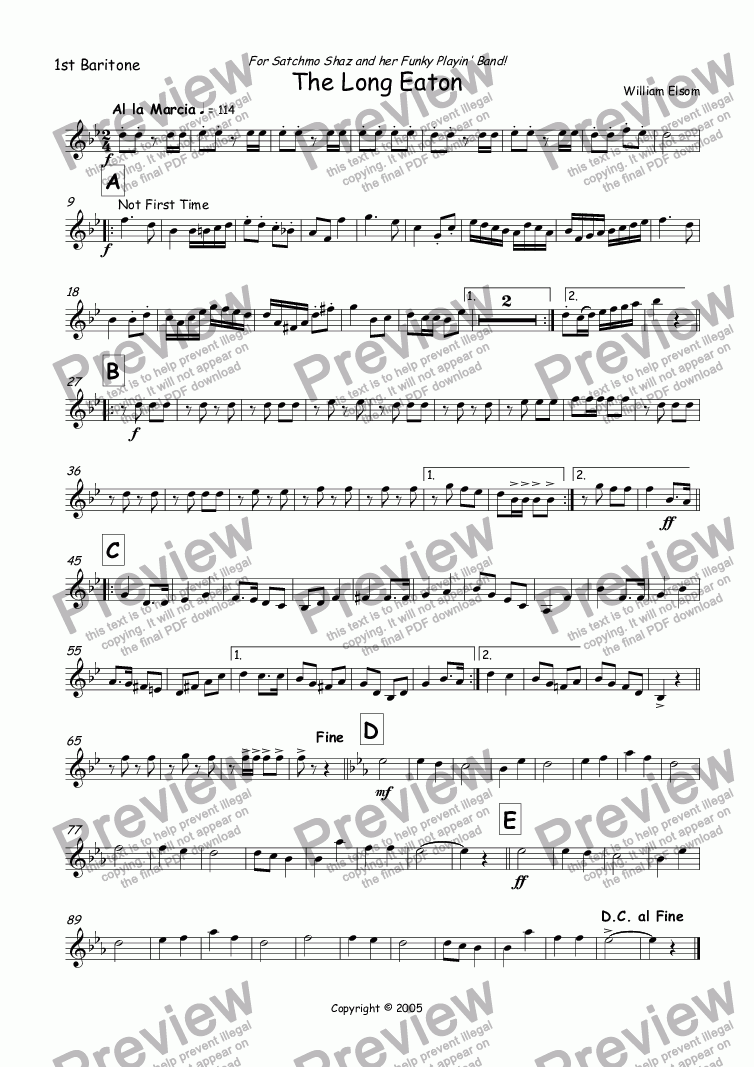 page one of the 1st Baritone part from (BRASS BAND) March - The Long Eaton