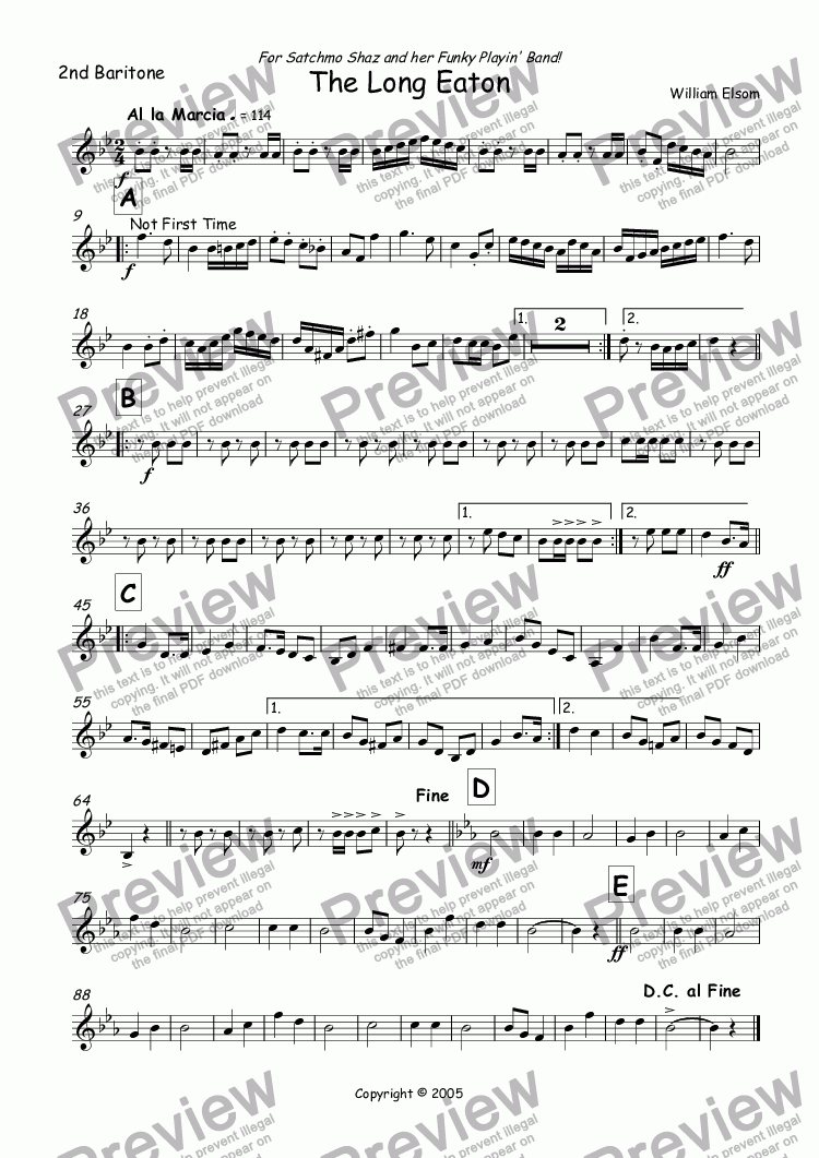 page one of the 2nd Baritone part from (BRASS BAND) March - The Long Eaton