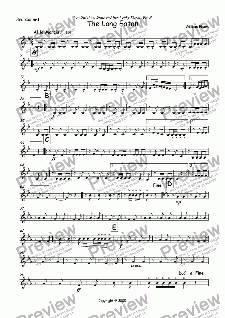 page one of the 3rd Cornet part from (BRASS BAND) March - The Long Eaton