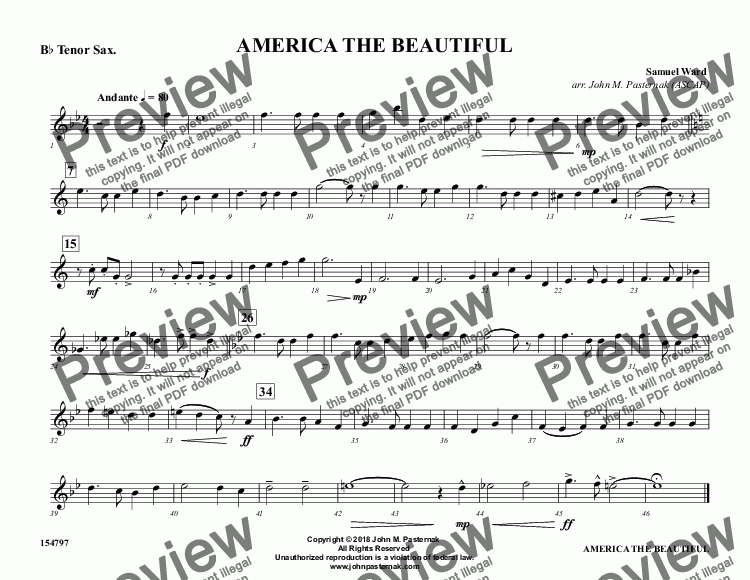 page one of the B^b Tenor Sax. part from America the Beautiful