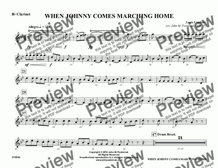 page one of the B^b Clarinet part from When Johnny Comes Marching Home