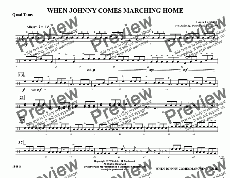 page one of the Quad Toms part from When Johnny Comes Marching Home