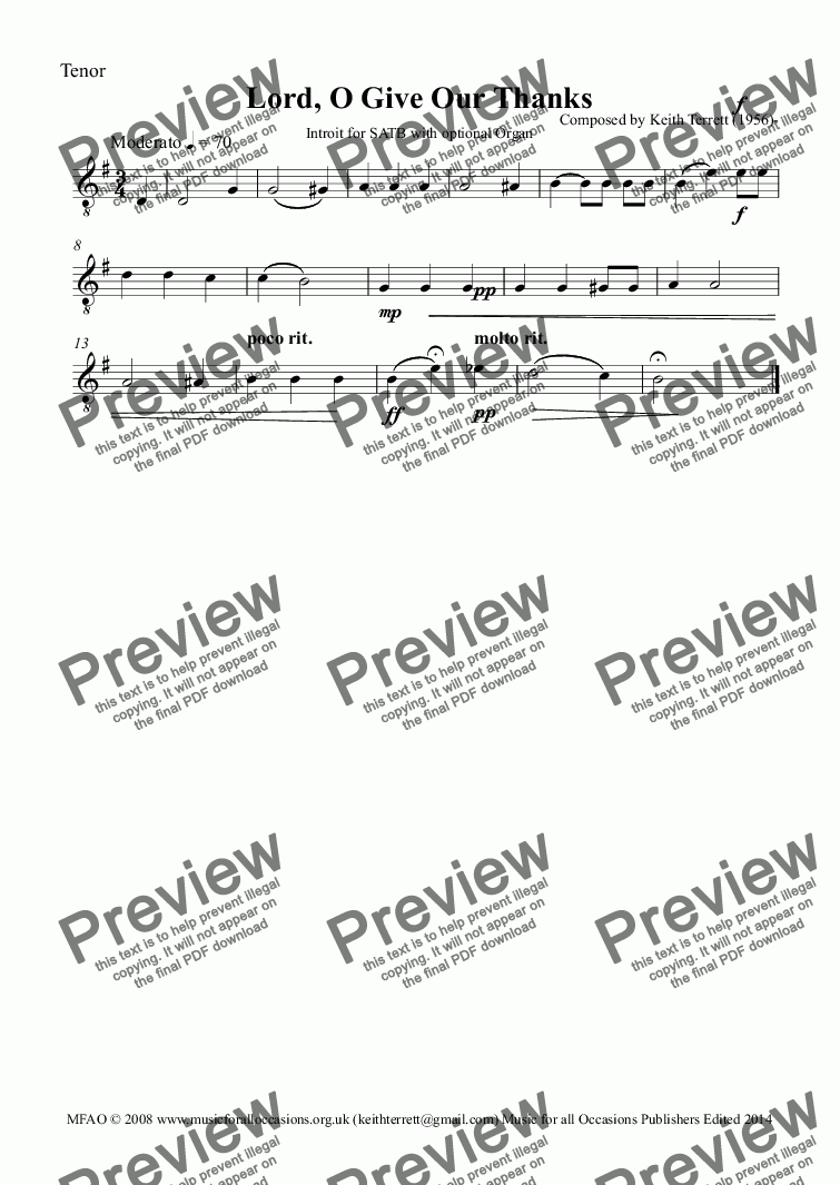 page one of the Tenor part from O Give Our Thanks Introit for S.A.T.B  & Organ (opt.)