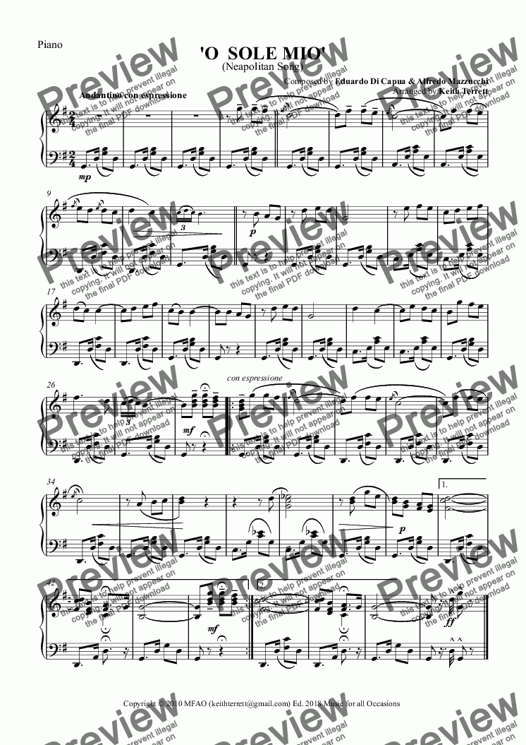 page one of the Piano part from O Sole Mio for Guitar & Piano