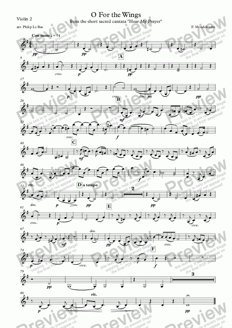page one of the Violin 2 part from O For the Wings of a Dove