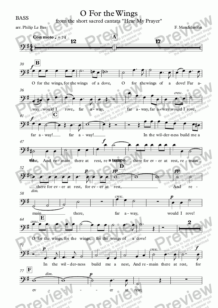 page one of the BASS part from O For the Wings of a Dove