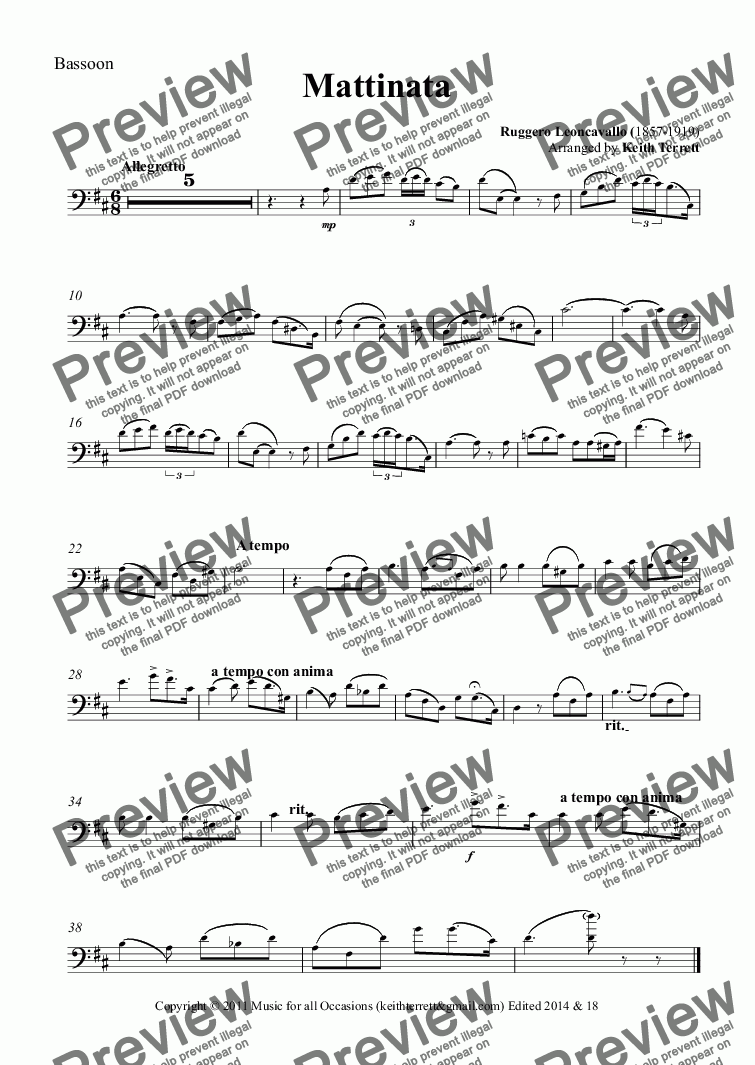 page one of the Bassoon part from Mattinata for Bassoon & Piano