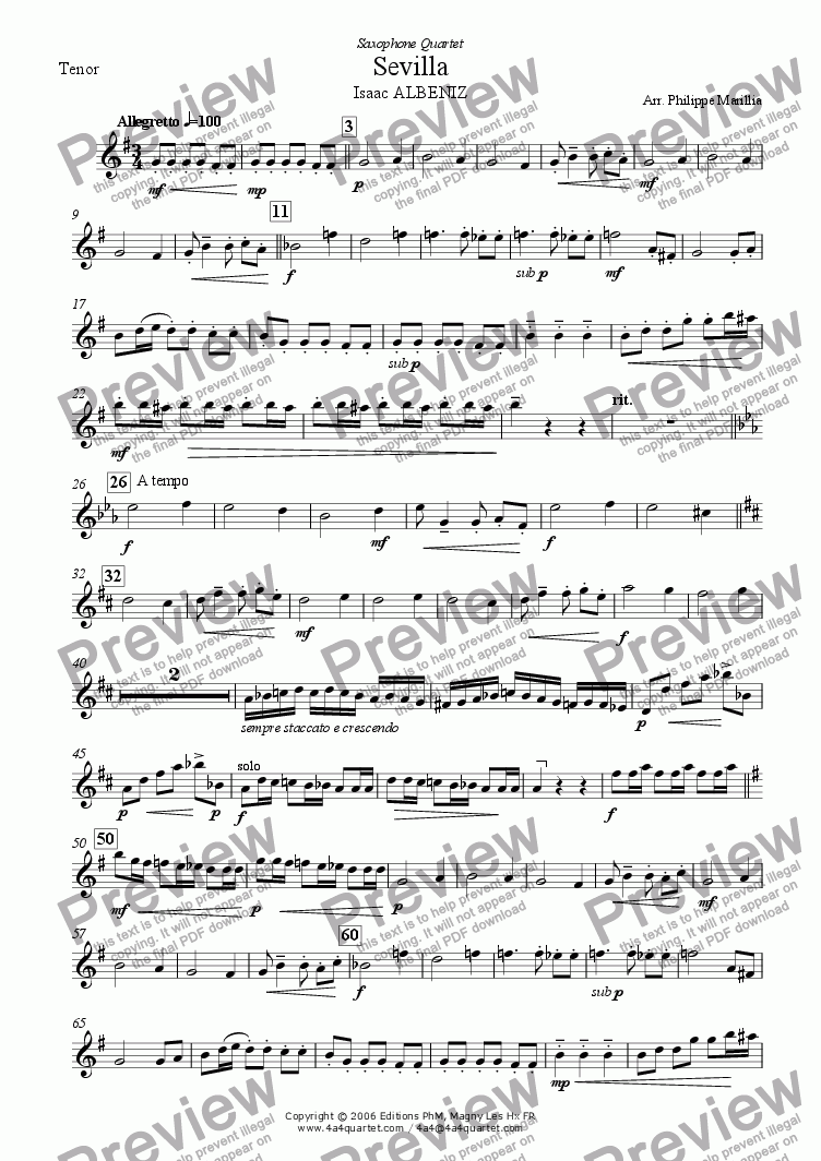 page one of the Tenor Sax part from Albeniz - Sevilla (Sax Quartet)