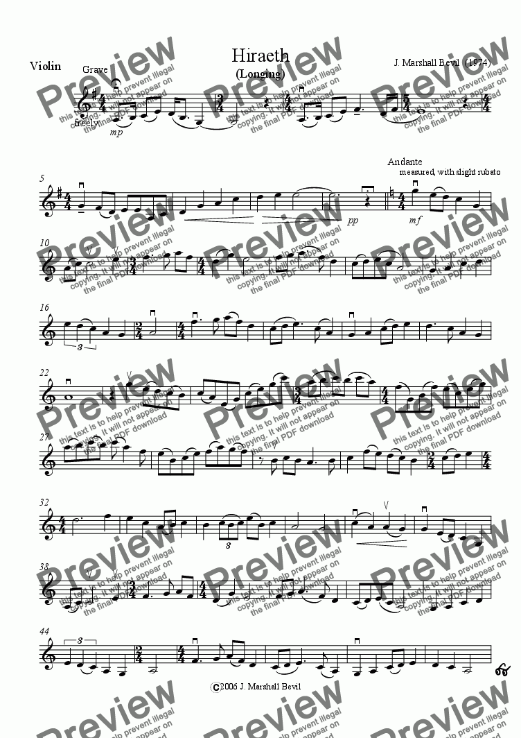 "page one of the Solo Violin part from HIRAETH (Gaelic &  Welsh: ""Longing"" - for solo violin and harp or piano)"