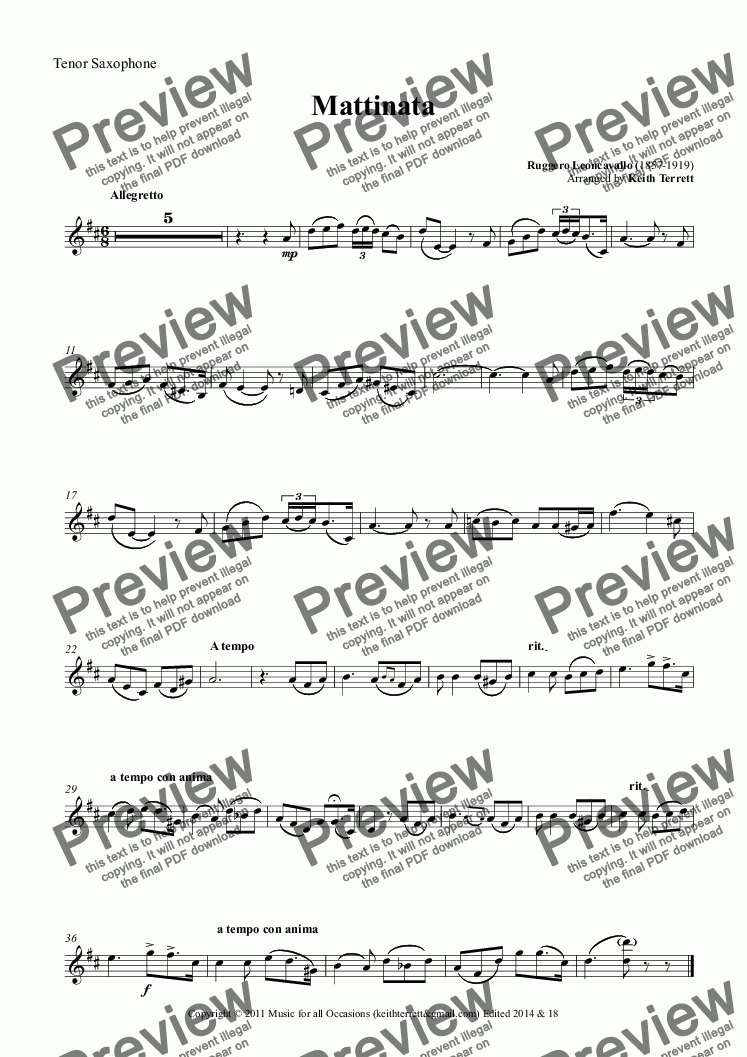 page one of the Tenor Saxophone part from Mattinata for Bb Tenor Saxophone & Piano