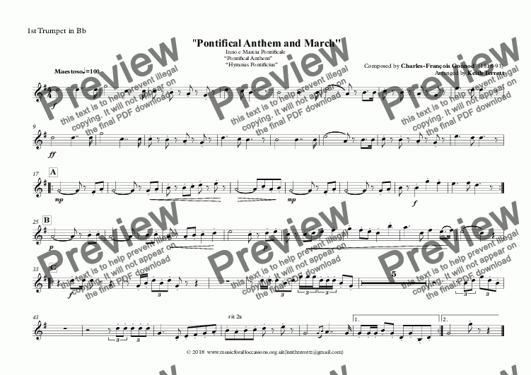 "page one of the 1st Trumpet in Bb part from Vatican State National Anthem - Inno e Marcia Pontificale ""Pontifical Anthem""  ""Hymnus Pontificius"" for Brass Quintet (MFAO World National Anthem Series)"