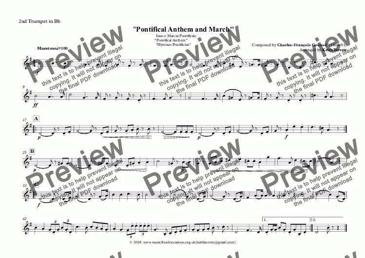 "page one of the 2nd Trumpet in Bb part from Vatican State National Anthem - Inno e Marcia Pontificale ""Pontifical Anthem""  ""Hymnus Pontificius"" for Brass Quintet (MFAO World National Anthem Series)"