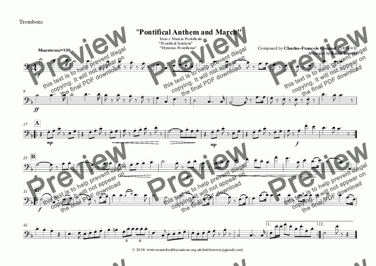 "page one of the Trombone part from Vatican State National Anthem - Inno e Marcia Pontificale ""Pontifical Anthem""  ""Hymnus Pontificius"" for Brass Quintet (MFAO World National Anthem Series)"