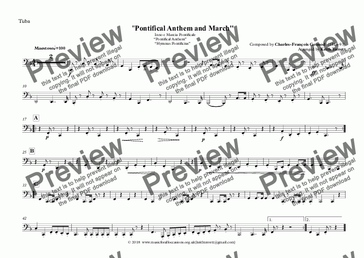 "page one of the Tuba part from Vatican State National Anthem - Inno e Marcia Pontificale ""Pontifical Anthem""  ""Hymnus Pontificius"" for Brass Quintet (MFAO World National Anthem Series)"