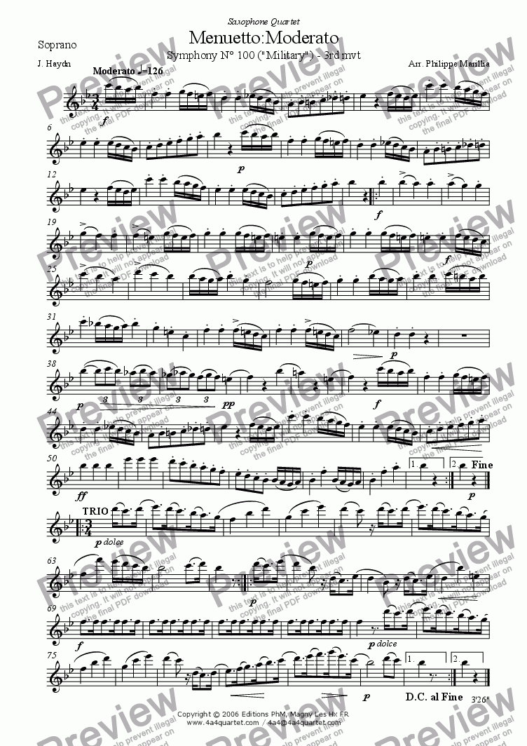 page one of the Soprano Sax part from Haydn - Menuetto from Symphony N� 100 (Sax Quartet)