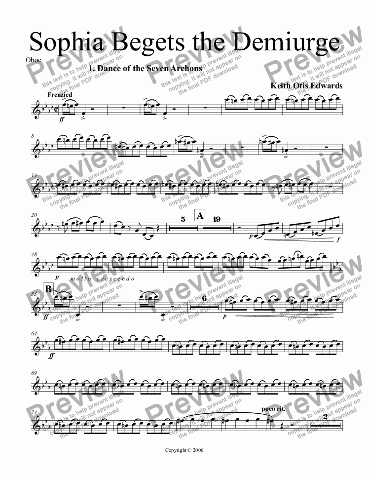 page one of the Oboe part from Sophia Begets the Demiurge