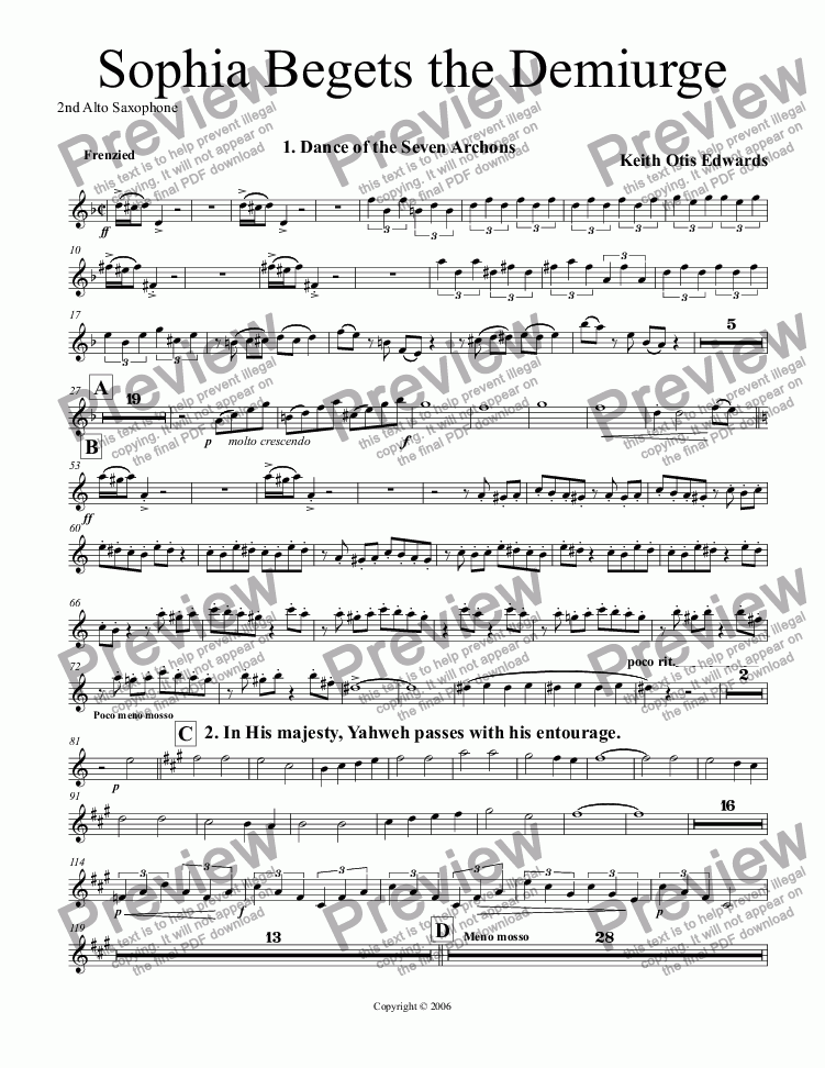 page one of the 1st & 2nd Alto Saxophones part from Sophia Begets the Demiurge