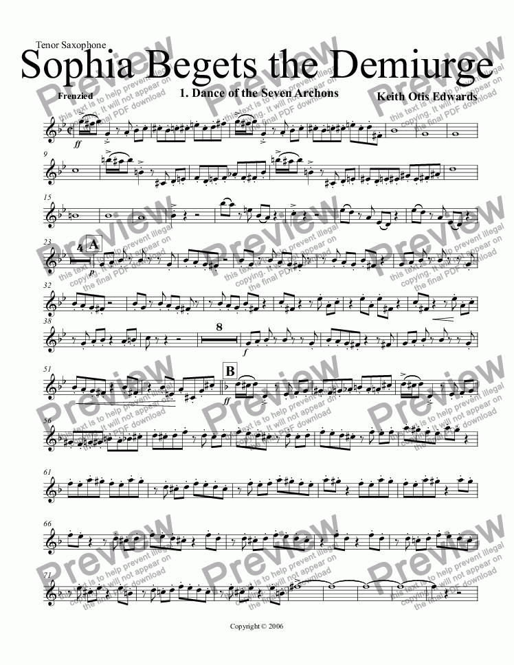 page one of the Tenor Saxophone part from Sophia Begets the Demiurge