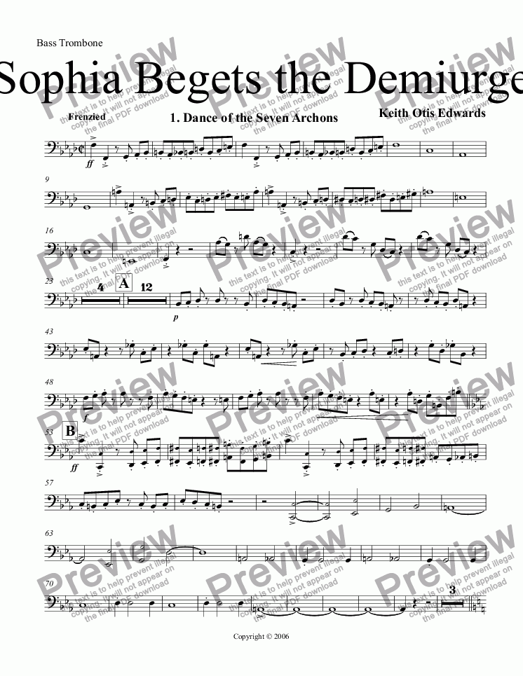 page one of the Bass Trombone part from Sophia Begets the Demiurge
