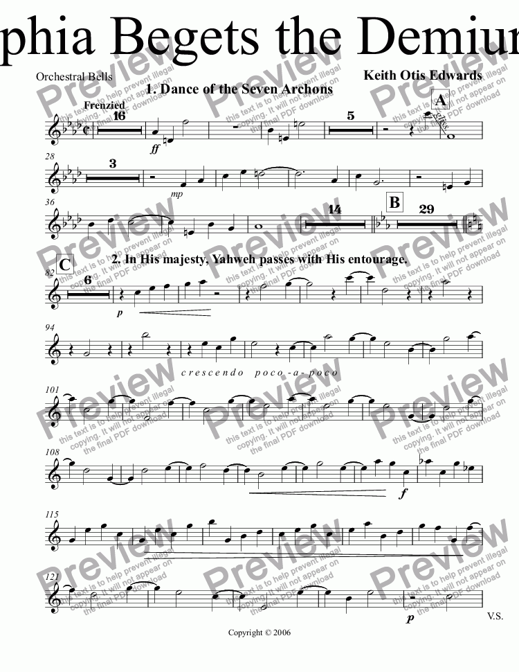 page one of the Orchestral Bells part from Sophia Begets the Demiurge