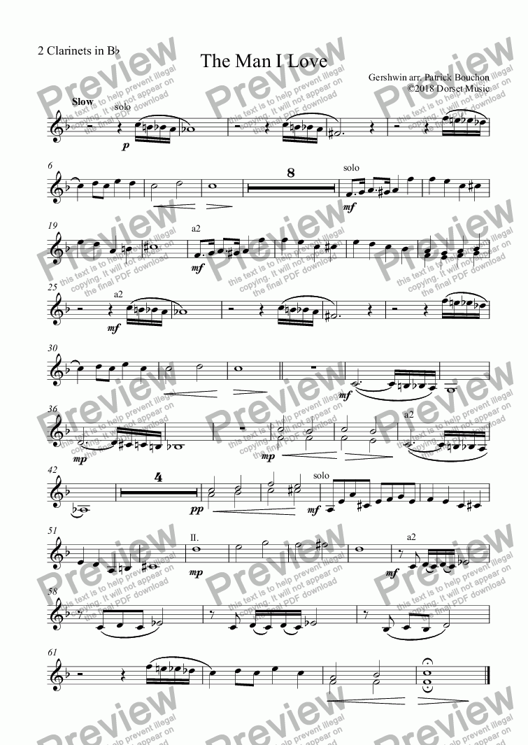 page one of the 2 Clarinets in Bb part from G. Gershwin - The Man I Love