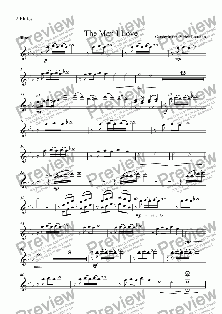 page one of the 2 Flutes part from G. Gershwin - The Man I Love