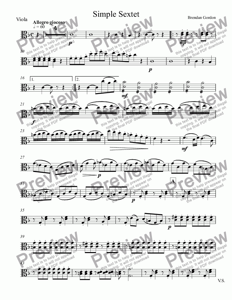 page one of the Viola part from Simple Sextet (2nd mvt), Op. 7 (the original) (live mp3!)